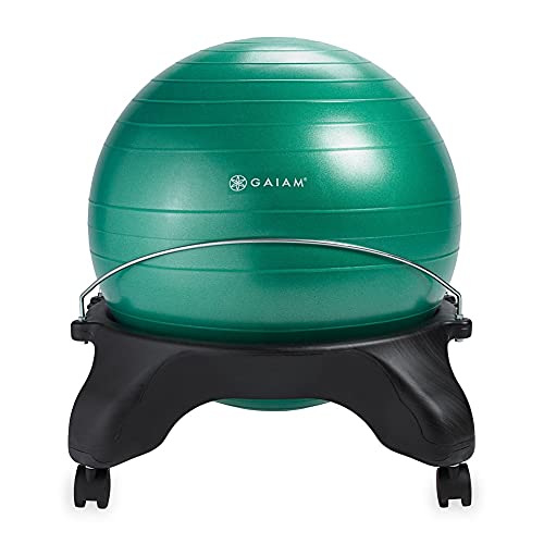 Gaiam Classic Backless Balance Ball Chair – Exercise Stability Yoga Ball Premium Ergonomic Chair for Home and Office Desk with Air Pump, Exercise Guide and Satisfaction Guarantee, Green