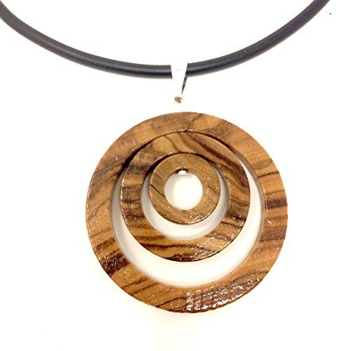 bagusto Halskette mit Anhänger Ringe aus Olivenholz handgefertigt auf Mallorca - Spanien Holzschmuck Band aus Kautschuk