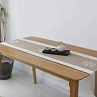 テーブルランナーの多肉質の綿の刺繍のレトロなコーヒーテーブルの現代簡単 (Color : Brown, Size : 40*220CM)