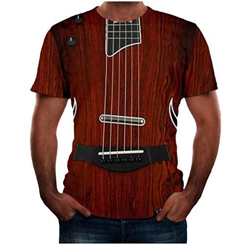 Yowablo T Shirt Sommer Poloshirt Tops Shirts Sommer T-Shirts Oberteile Männer Mode Lustige Gitarre 3D-bedrucktes T-Shirt Coole Sommer-Kurzarm (XL,1Wein)
