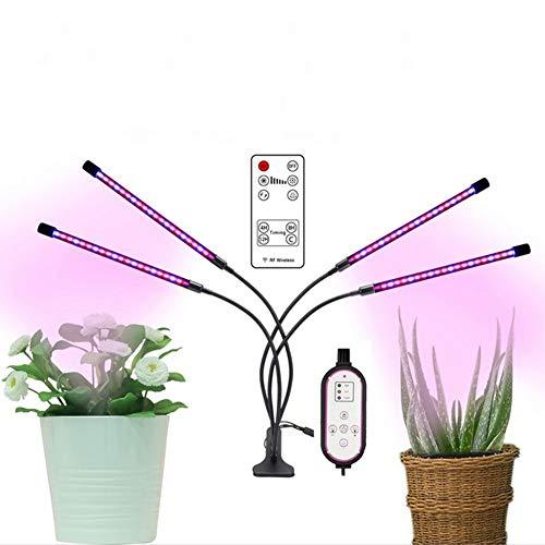Zotonale 【2020改良版】 80led 40W 植物育成ライト 日照不足解消 9階段輝度調整 3カラーモード 四本チューブ 4/8/12Hタイミング定時機能 リモコン付き 角度・高度調節可能 植物成長促進用LEDランプ 屋内植物、野菜および花の場