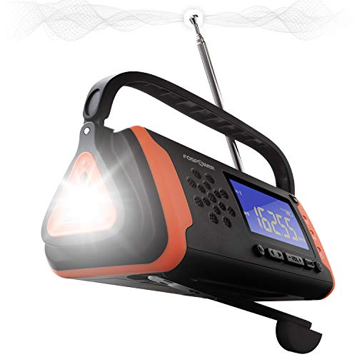FosPower 4000mAh NOAA Emergency Weather Radio (Model D2) Portable Power Bank with Solar Charging, Hand Crank & Battery Operated, LCD Display, SOS Alarm, AM/FM & LED Flashlight for Outdoor Emergency