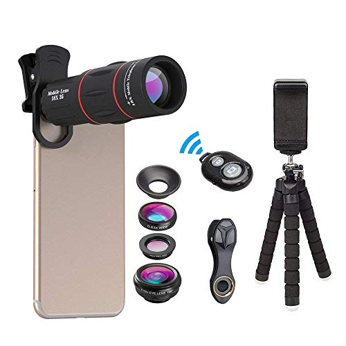 Zoom Lens for Smartphone Camera Lens kit with Hyperzoom 18X Monocular Telephoto Lens, Fisheye, Macro & Wide Angle Lenses, Tripod, and Bluetooth Remote for iPhone, Samsung, and Other Smartphones