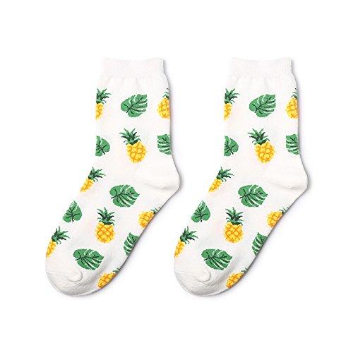 MoGist Damen Sport und Freizeit Socken Tropische Früchte Muster Dick Mittel Lange Thermosocken Bequeme Zuhause Baumwolle Socken (Ananas)