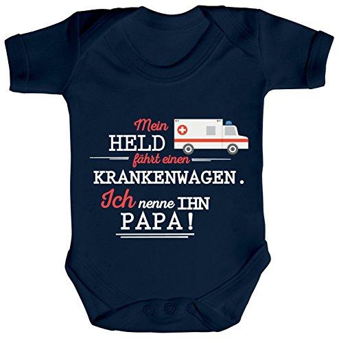 ShirtStreet Geschenk zum Vatertag Rettungsdienst Strampler Bio Baumwoll Baby Body Kurzarm Jungen Mädchen Papa- Mein Held fährt einen Krankenwagen, Größe: 3-6 Monate,Nautical Navy
