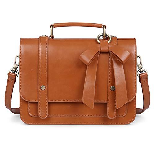 ECOSUSI Small Crossbody Bags Vintage Satchel Work Bag Vegan Leather Shoulder Bag with Detachable Bow, Brown
