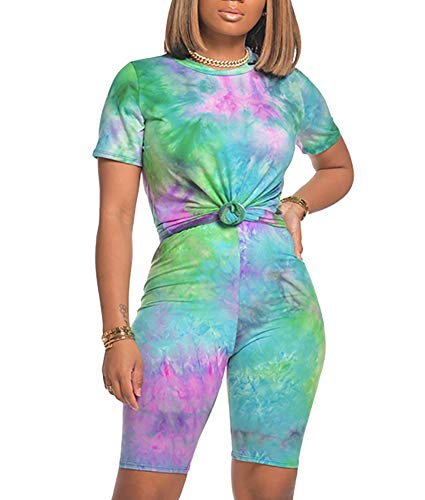Two Piece Shorts Set for Womenn - Summer Tie Dye 2 Pc Outfits Tracksuits Biker Jogging Suits Sets Purple&Green XX-Large