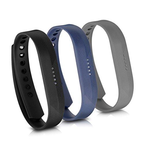 kwmobile 3X Brazalete Compatible con Fitbit Flex 2 - Pulsera de TPU para Fitness Tracker en Negro/Azul Oscuro/Antracita