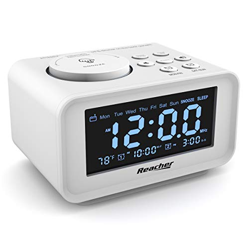REACHER Dual Alarm Clocks Radio - Weekday/Weekend Mode, 0-100% Dimmer, Dual USB Charging Ports, 6...