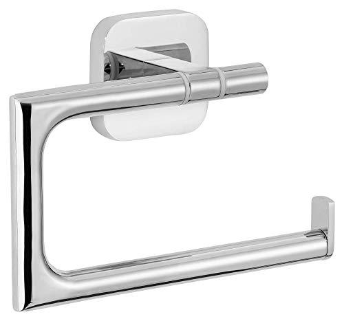 tesa ELEGAANT Toilettenpapierhalter ohne Deckel, edles Design, Metall, verchromt, inkl. Klebelösung, rostfrei, 99mm x 132mm x 45mm