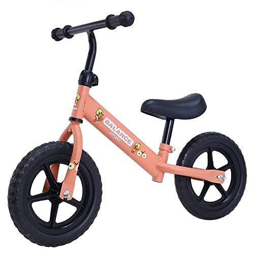 XJZKA Bici Senza Pedali da 12'' per Ragazzi e Ragazze, Telaio in Acciaio al Carbonio Senza Pedali Bici Senza Pedali con Manubrio e Sedile Regolabili, Bicicletta Leggera da Allenamento PE