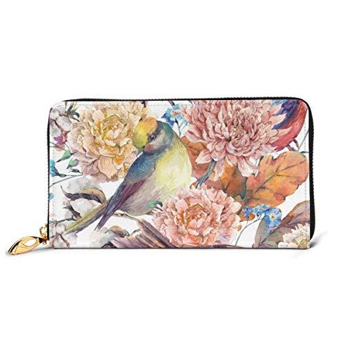 DJNGN Acuarela pájaros algodón Flor Amarillo Hojas de Roble Cuero Cremallera Bolso de Mano Cartera de Gran Capacidad Bolso Largo para Mujer Personalizado