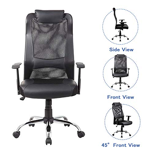KADIRYA Mesh Office Chair High-Back PU Leather Home Computer Desk Chair Executive Ergonomic Swivel Chair Padded Headrest Lumbar Support Adjustable Arms(Black)