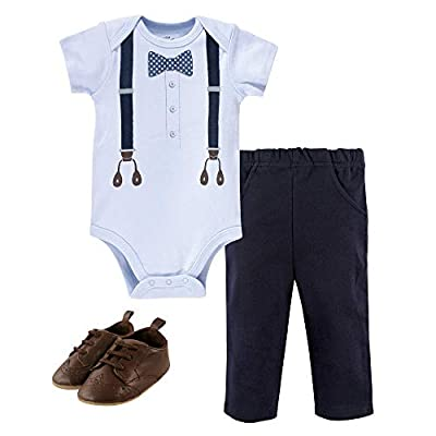 Little Treasure Unisex Baby Cotton Bodysuit, Pant and Shoe Set, Navy Dot Bow Tie, 3-6 Months by Little Treasure