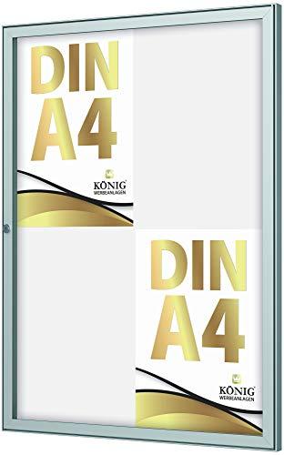 Schaukasten Keitum 4x DIN A4 | B 485 x H 660mm Hochformat | wetterfest für innen und aussen | abschließbar | ESG-Sicherheitsglas | Brandschutz A1/A2 nach DIN EN 13501-1 | Alu silber