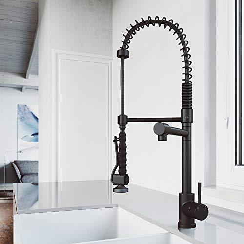 VIGO VG02007MB 27.25' H Zurich Single-Handle Pull-Down Sprayer Kitchen Faucet in Matte Black