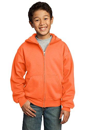Port & Company® - Youth Core Fleece Full-Zip Hooded Sweatshirt. PC90YZH Neon