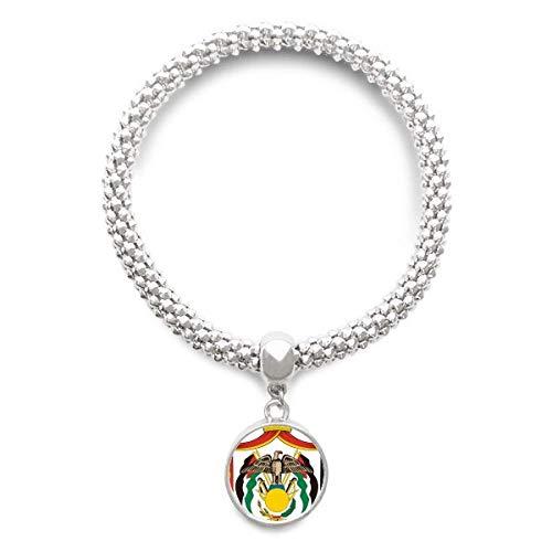 DIYthinker Cadena de joyería Jordan Emblema Nacional País Astilla Pulsera Pendiente Redondo