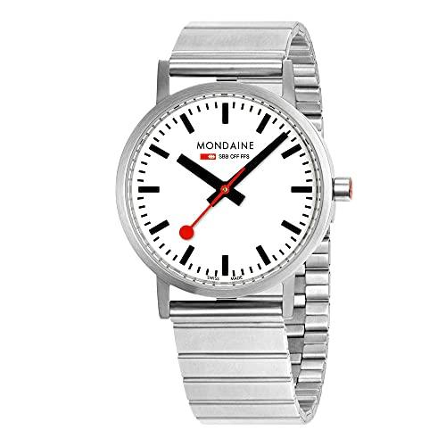 MONDAINE Movimiento de cuarzo clásico esfera blanca reloj de pulsera de acero inoxidable A660.30314.16SBJ