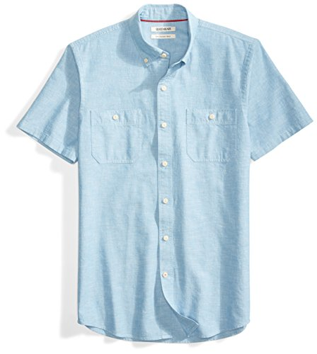 Goodthreads Men's Slim-Fit Short-Sleeve Chambray Shirt, Blue, Medium