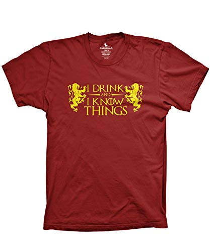 Guerrilla Tees I Drink and I Know Things Funny Tyrion Lannister Shirt Graphic Video Game and tv Tshirts, 2X-Large Cardinal
