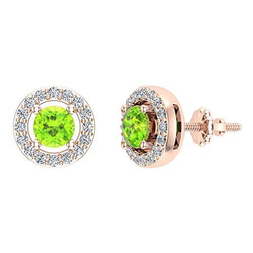 Glitz Design Niños Hombre Unisex Mujer 586 Gold oro rosa 14ct redonda Round Brilliant Green IJ Peridoto/Olivino