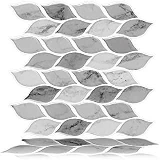 Tic Tac Tiles 6-Sheet Peel and Stick Self Adhesive Removable Stick On Kitchen Backsplash Bathroom 3D Wall Sticker Wallpaper Tiles in Foglia Grigio