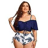 JJZXD Mujeres Push Up Bikinis Set Traje de baño Tallas Grandes Cintura Alta Bañador Suits Big Plussize Natación Trajes de baño Baño Ropa de Playa (Color : Blue, Size : XXXX-Large Code)