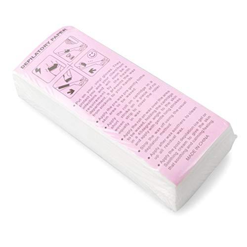 Épilation à la cire professionnelle 100pcs bandes non tissées de papier à cirer papiers outil de beauté dépilatoire pour l'enlèvement des jambes - blanc