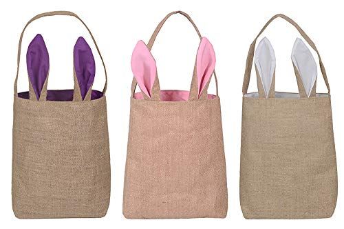 KEFAN Paquete de 3 cestas de Conejito de Pascua Bolsas de