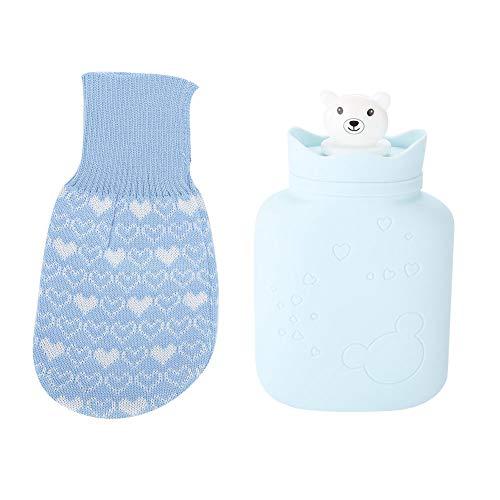Botella de agua caliente Bolsa de silicona suave para botella de agua caliente Oso lindo Terapia de calor/frío Bolsa de agua con funda de punto Botella de agua caliente transparente de goma(Az