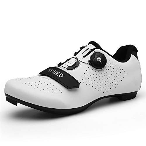 TFNYCT Zapatillas de Ciclismo Antideslizantes, Zapatillas de Bicicleta de Carretera y Montaña de Fibra de Carbono Transpirables (43,Blanco)