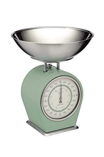 KitchenCraft Living Nostalgia Mechanische Küchenwaage, Traditionelle Waage in Vintag-Optik, Back- und Kochzubehör, 4 kg (8 lbs) – English Sage