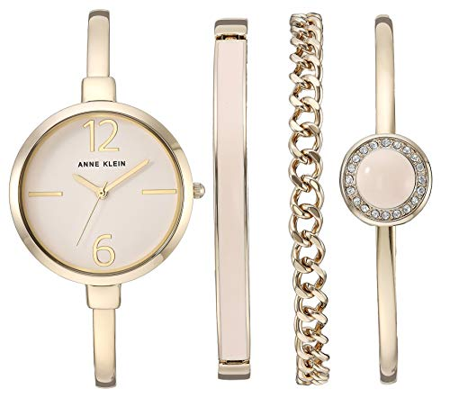 Price comparison product image Anne Klein Women's AK / 3290LPST Gold-Tone Bangle Watch and Swarovski Crystal Accented Bracelet Set