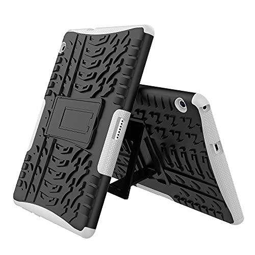 WANTONG Funda de Piel para Tablet PC Cubierta de la Tableta para Huawei MediaPad T3 10 Pulgadas Textura de neumáticos TPU + PC Funda Protectora con Soporte de Mango Plegable (Color : White)