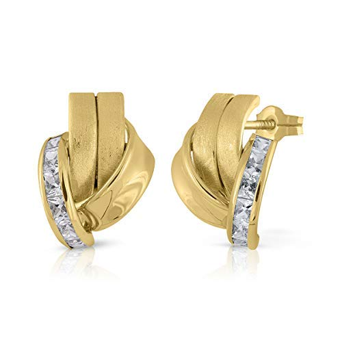 Pendientes oro18k, mujer, modelo bandas de oro y banda de piedras con cierre de presión de calidad