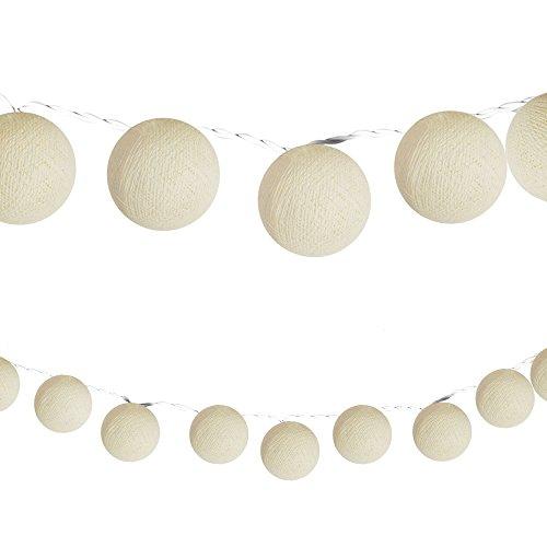 CHICNET LED Lichterketten bunt 20 Baumwollkugeln (6 cm) CE Deko innen Cotton Ball | Baby Nachtlicht | Dekoration Hochzeit Geburtstag Party Weihnachten Lichterkette Kugeln Textil (beige)