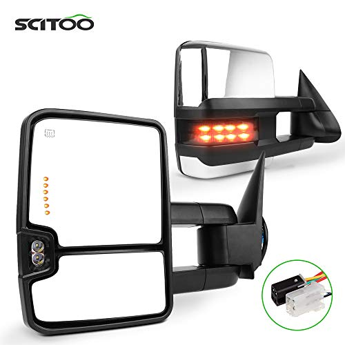 SCITOO Towing Mirrors Replace Mirror Parts with Indicator Light Light Electrical Operated Function Compatible for fit 1988-1998 for Chevy for GMC Silverado Sierra, Comes with Pair Mirrors