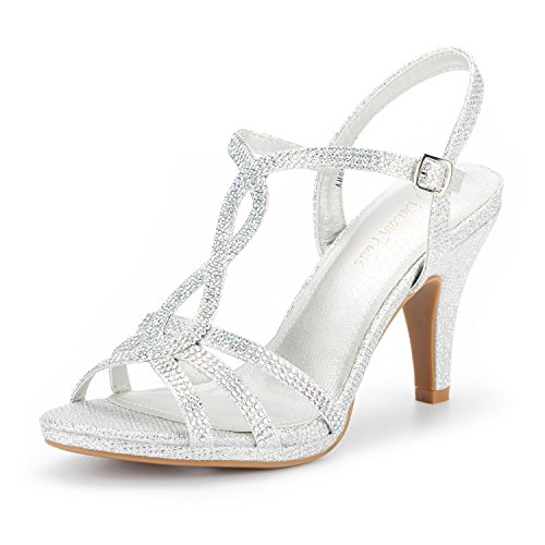 DREAM PAIRS Women's Amore_3 Silver Glitter Fashion Stilettos Open Toe Pump Heel Sandals Size 5.5 B(M) US