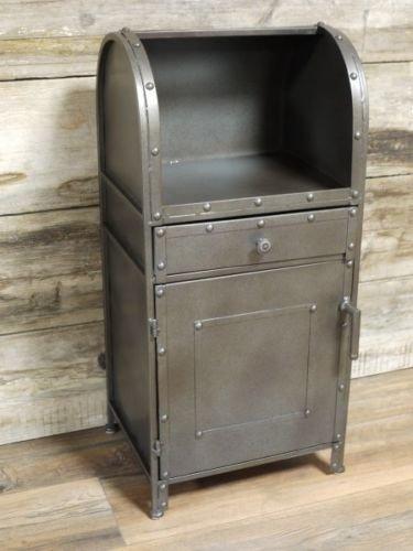 Nuovo industriale retro metallo cassettiera comodino con vetrina 73cm