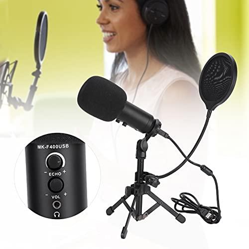 CUTULAMO Paquete de micrófono, micrófono de Condensador cardioide Ajustable para computadora portátil de Escritorio(Negro, Tipo de Torre Inclinada de Pisa)
