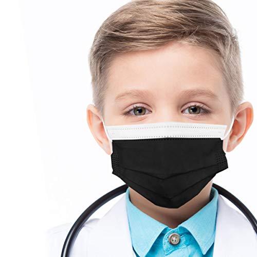 azurano Einweg Alltagsmaske Gesichtsmaske Behelfsmaske | 50 Stück Kinder Schwarz | 3-lagige Mund-Nasen-Bedeckung aus weichem Vlies | atmungsaktiv | geruchsneutral