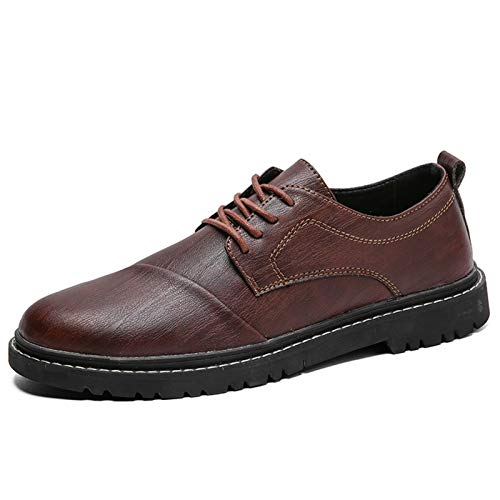 Datouya Men's Oxford Dress Shoes Stitching Flat Shoes Synthetic Leather Rubber Business Shoes Provide the best comfort for your all-weather life (Color : Brown, Size : 41 EU)