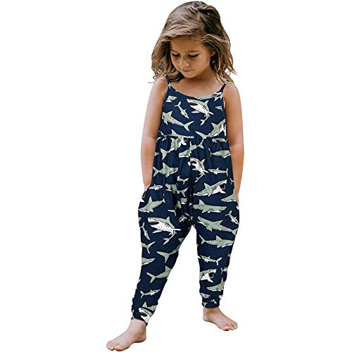 ESAILQ Toddler Girls Baby Kids Jumpsuit One Piece Solid Strap Romper Summer Outfits
