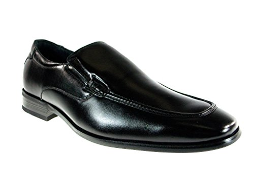 Delli Aldo Men's 18576-Black Round Toe Slip on Loafers, Black, 7.5