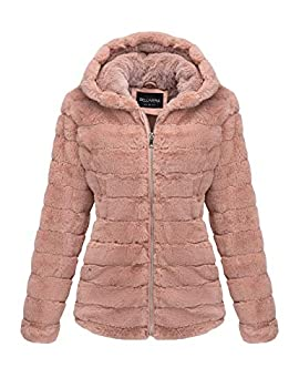 Bellivera Women s Faux Shearling Shaggy Coat Fashion Long Sleeve Zip Up Jacket Hooded 1801 Pink M