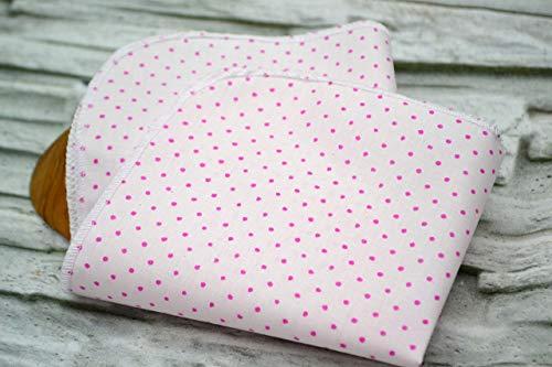 Taschentuch aus Bio-Baumwolle, 3 Stück, Stofftaschentuch, wiederverwendbares Tuch, Mehrweg, waschbar, Damen, Ersatz Papiertücher, Punkte rosa pink
