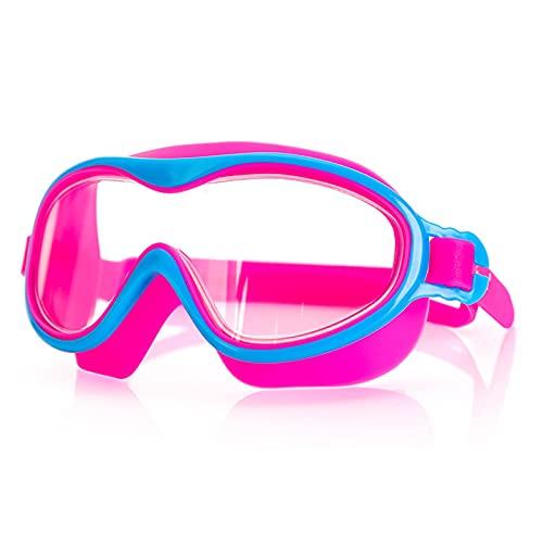 QKFON Gafas de natación para niños, versión grande, sin fugas, portátiles, antiniebla, para natación, para niños, antiempañamiento, revestimiento antivaho, y amplia visión para el verano