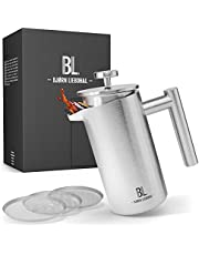 Bjørn Liebdhal® Premium French Press van roestvrij staal 0,6L met warmhoudeffect [Incl. 3 reservefilters & instructies] - thermo koffiezetapparaat vaatwasmachinebestendig - koffiepers voor onderweg - koffiemaker