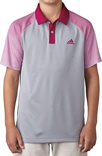 adidas Golf Boys Novelty Polo Shirt, Mid Grey, Small